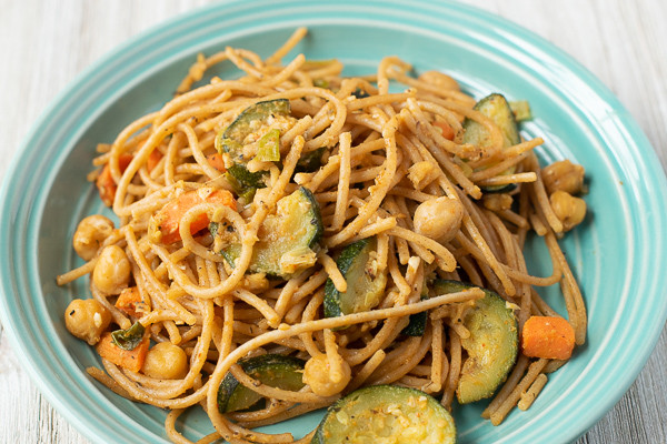 Sautéed Vegetables and Chickpeas with Pasta
