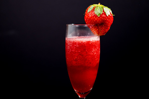 Rican Vegan Frozen Strawberry and Pomegranate Bellini