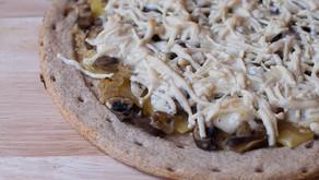 Vegan Garlic Aioli Mushroom Pizza