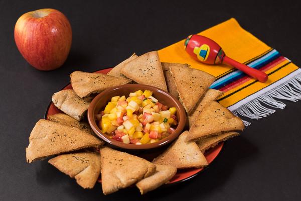Rican Vegan Fruit Salsa with Baked Pita Chips