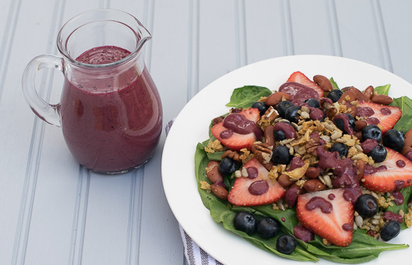 Rican Vegan Triple B Spinach Salad with Blueberry Pomegranate Dressing