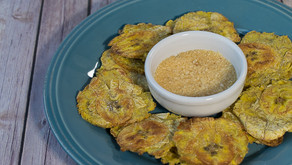 Oven Fried Tostones with Garlic Mojito Sauce