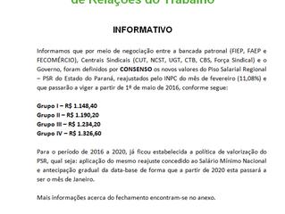 Piso Regional do Paraná: Tabela 2016