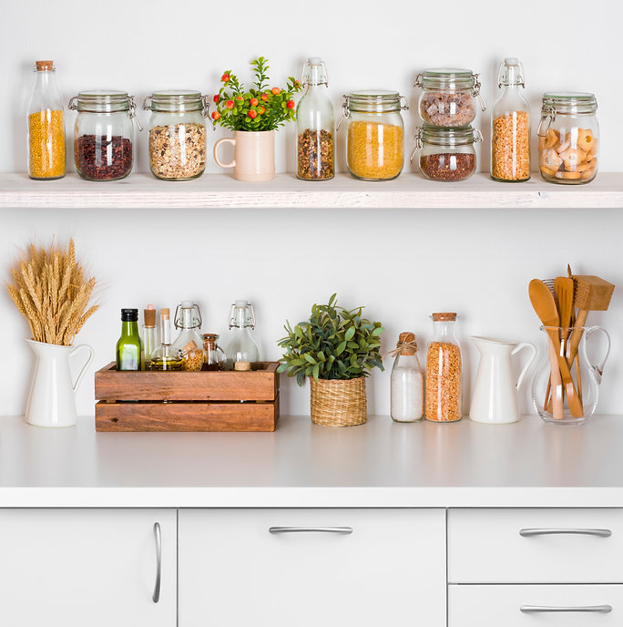 Canva - Kitchen bench shelves with vario