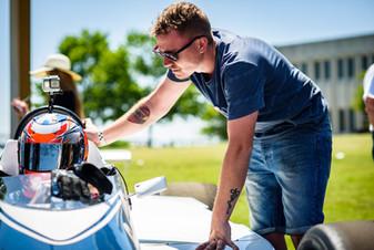 Kyle Tilley in a historic IndyCar