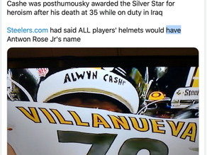 OUTRAGE = A. VILLANUEVA HAS THE NAME OF ALWYN CASHE ON THE BACK OF HIS HELMET.
