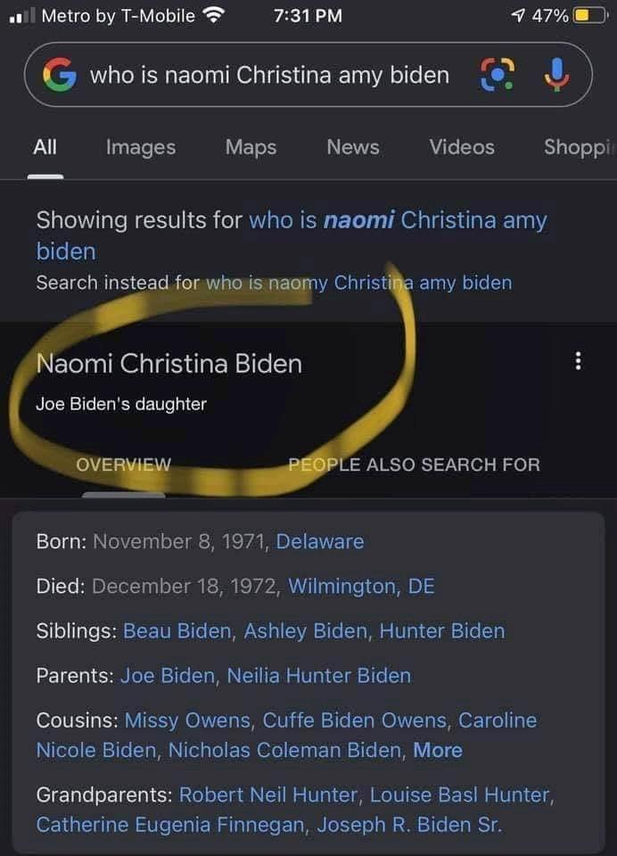 Is Amy Coney Barrett Naomi Christina Amy Biden?