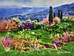 paysage au cypres d'hiver