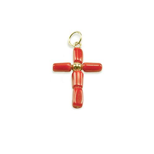 Cruz CORAL vermelho Ouro 19K