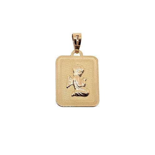 Medalha retangular ANJO  Ouro 9K
