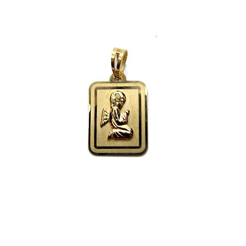 Medalha retangular ANJO  Ouro 19K