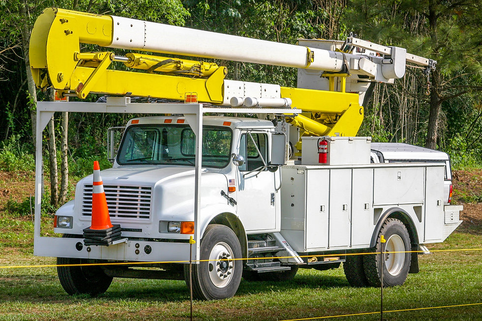 A bucket truck used for electric utility
