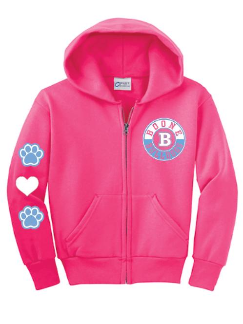 Girls Pink Zip Hoodie