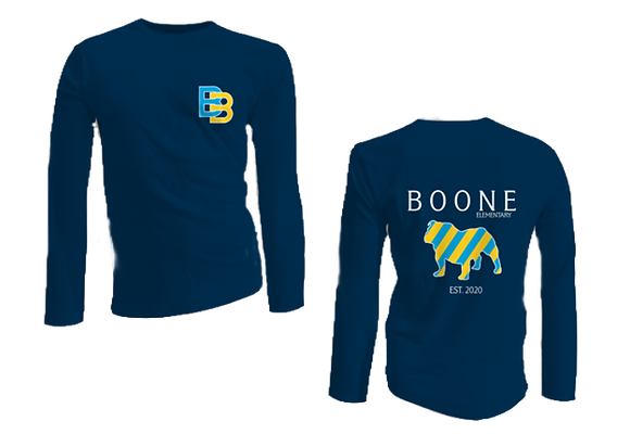 Youth & Adult Long Sleeve Navy Cotton Tee