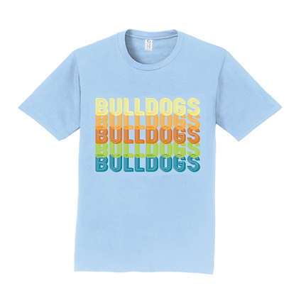 Blue Retro Bulldogs Cotton Shirt