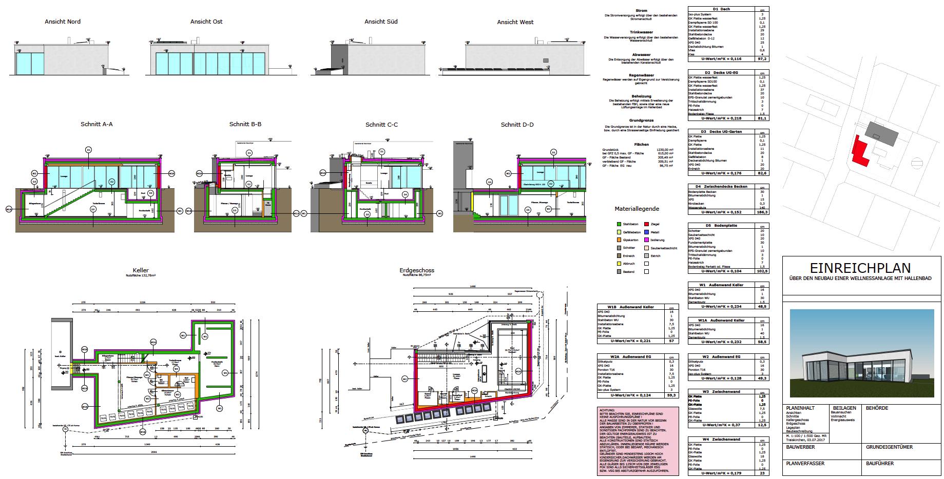 Wellnessgebäude Einreichplan