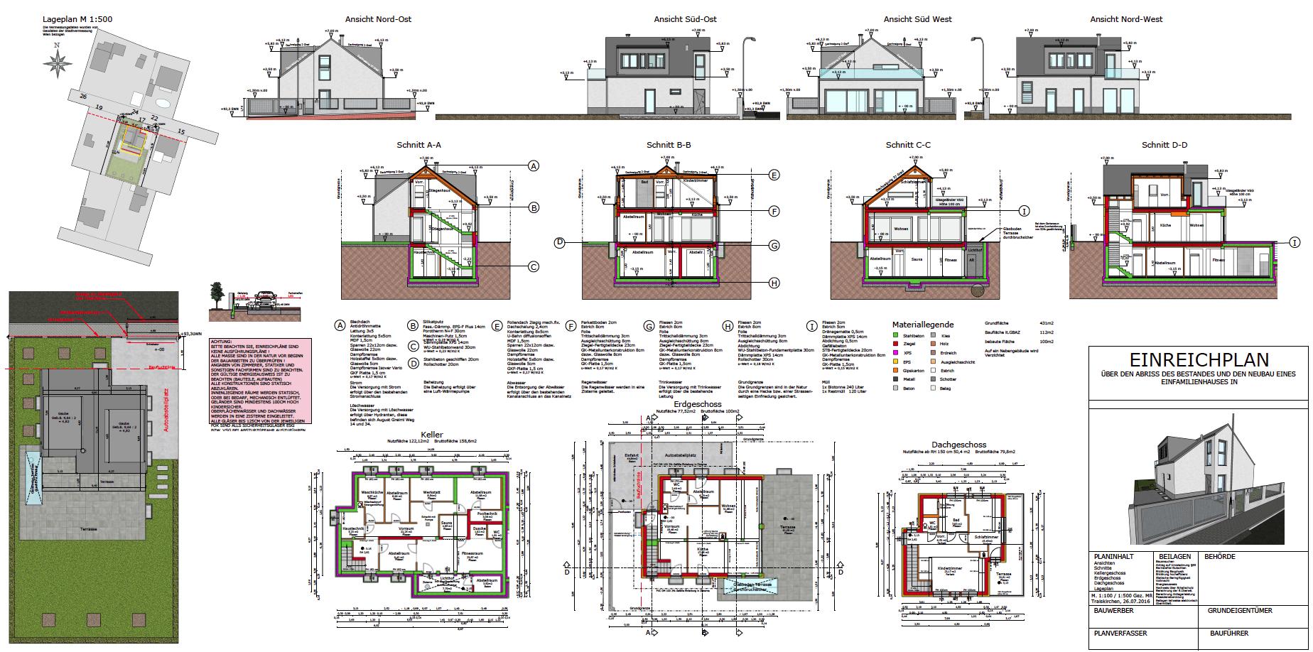 Einfamilienhaus Einreichplan