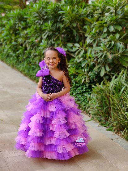 PURPLE & PINK FRILL GOWN