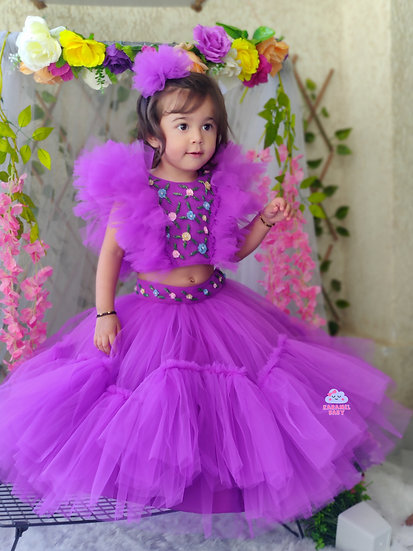 BRIGHT PURPLE HAND EMBROIDERY TOP AND SKIRT