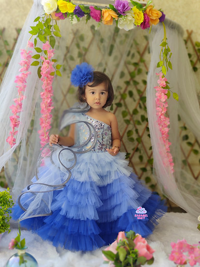 SHADED BLUE SWIRL SPARKLE GOWN
