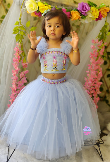 POWDER BLUE EMBROIDERY TOP WITH NET SKIRT