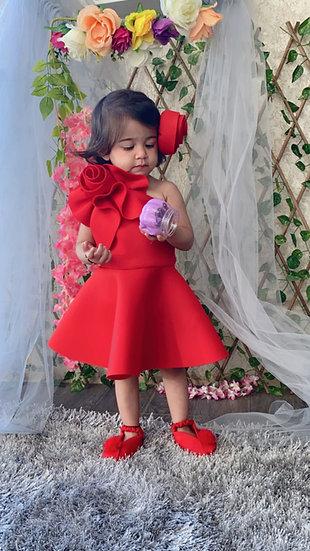 RED NEOPRENE FLOWER  DRESS