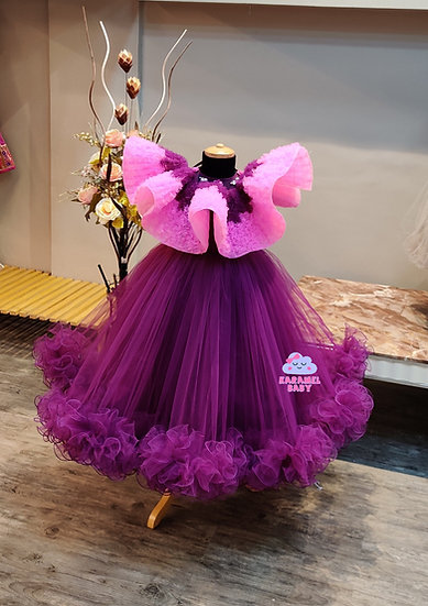 PURPLE SHADED CAPE GOWN