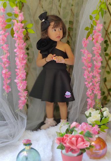 BLACK NEOPRENE FLOWER  DRESS