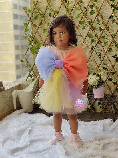MULTI COLOUR BOW DRESS