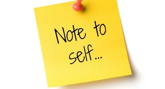 "Image of post-it note with text ""note to self"""