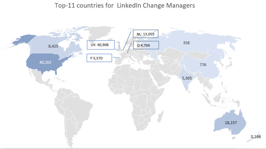 World map with top 5 countries for change manager population