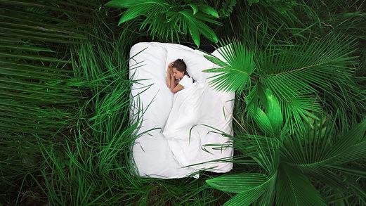 A hidden place. Sleeping woman in deep j
