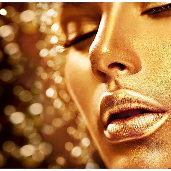 Trattamento viso illuminante con massaggio, spazzolatura e Maschera oro