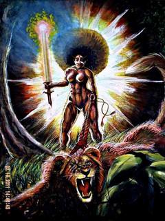 """Warrior Woman"" (acrylic on canvas) by VLM"