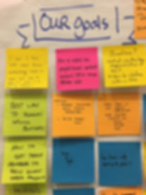 "CSM workshop sticky notes ""Our Goals"""