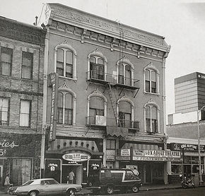 A historic photo shows the first floor had a adult theater and adult book store in years past in the former Stingaree.