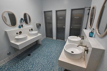 Gaslamp Hostel's modern bathrooms each have several showers and toilets and hairdryers.