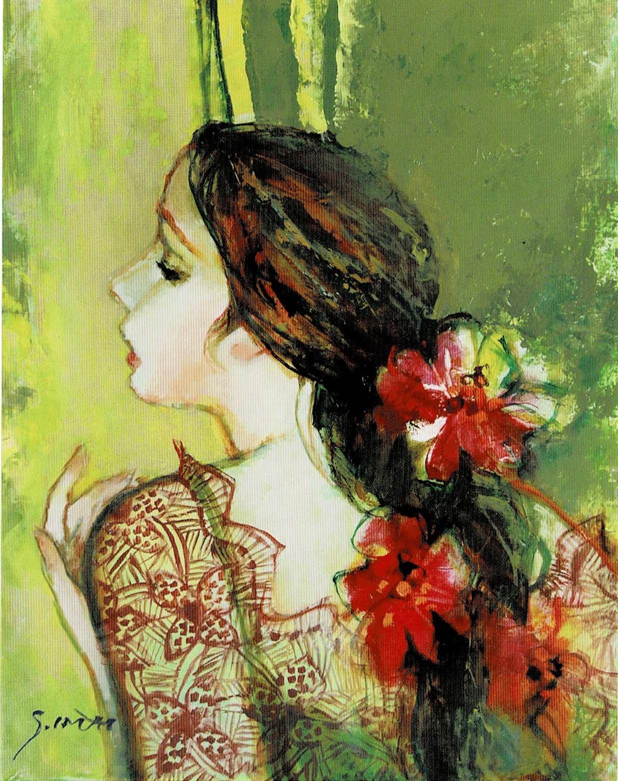 今井幸子「花飾りの女」