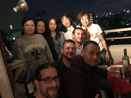 ベランダBBQ with Teachers & Staffs