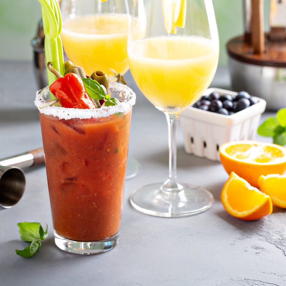 Brunch cocktails with orange mimosas and