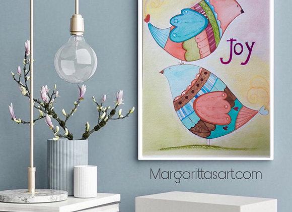 "Birds Joy Watercolor Art 8x10"""