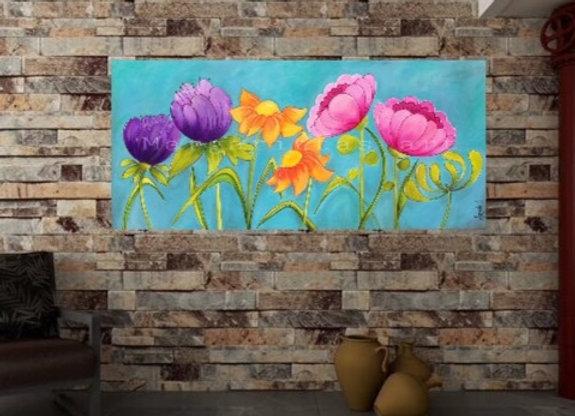 """Flower wall art 28x48 """""""