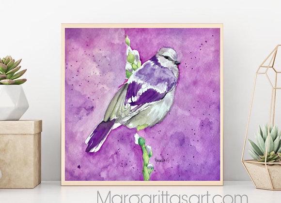 "Tit Bird Watercolor art 8X8"""