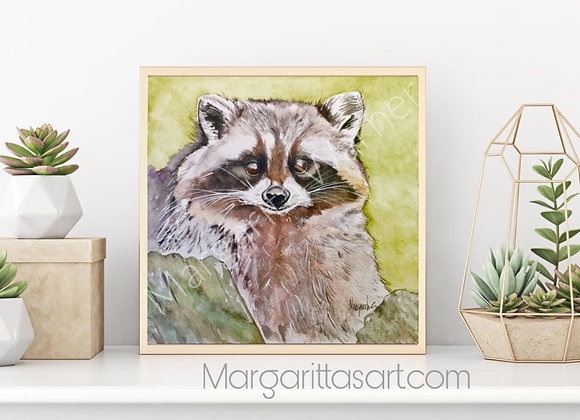 Racoon Watercolor art