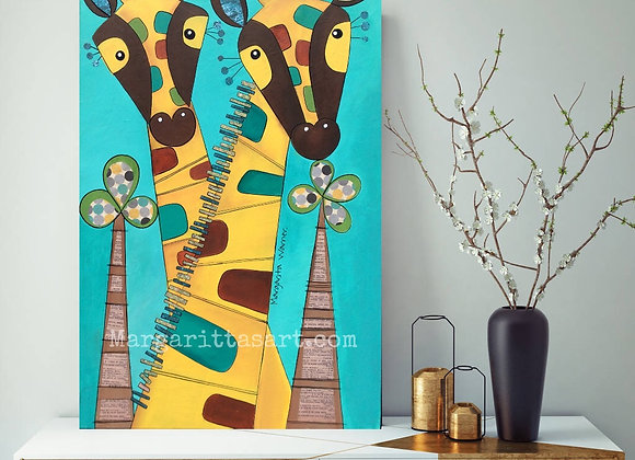 "Giraffes Original Collage/Acrylic Painting. 22x42"""