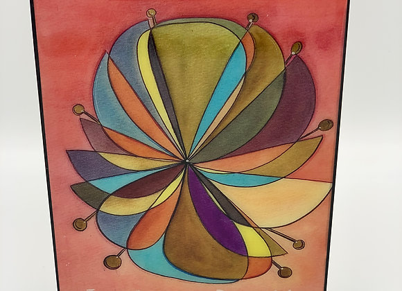 "Rehilete flower watercolor art 5x7"""