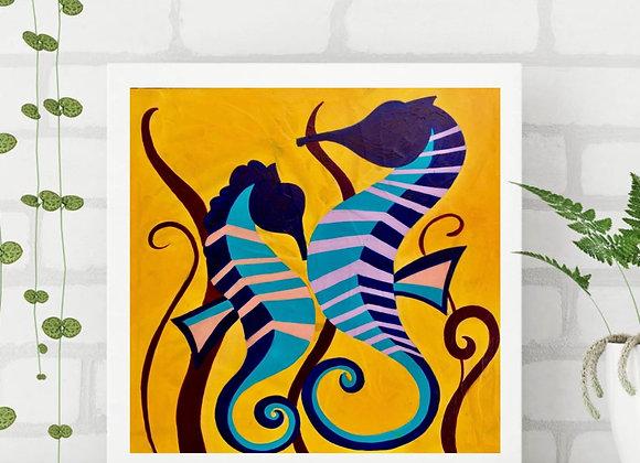 "Seahorse Acrylic fine art print  8x8"""