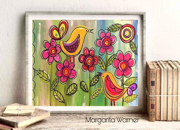 "Birds acrylic fine art print 8x10"""