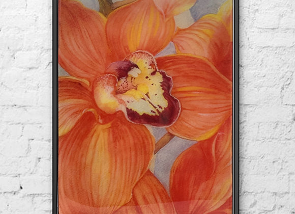 Orchid Watercolor Painting 16x20""