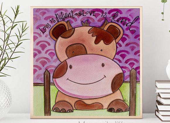 """Cow Watercolor 8X8"""""""